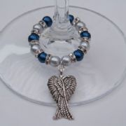 Large Angel Wings Wine Glass Charm - Full Sparkle Style